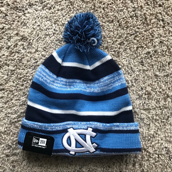 New Era Accessories - New Era UNC OS Fleece Lined Striped Pom Beanie